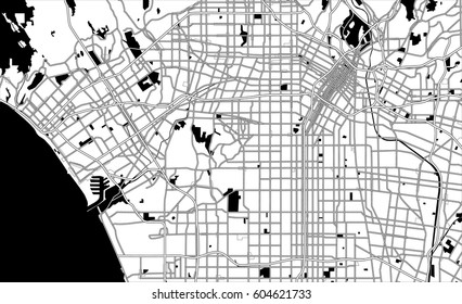 Black and white scheme of Los Angeles, USA. City Plan of Los Angeles