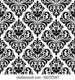 Black and white seamless damask wallpaper pattern.