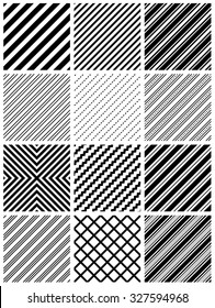 Black and white seamless stripes pattern background collection