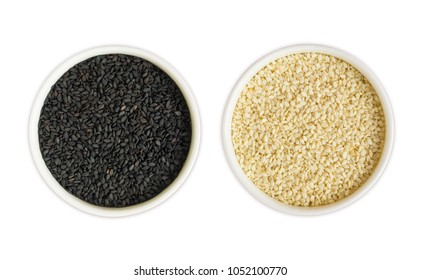 Black and white sesame on white background. Top view. Black and white sesame in a bowl isolated on white background. Sesame with copy space for text.