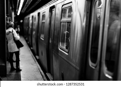 Black and white shallow depth of focus New York subway background