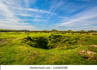 Black and white sheep and lambs grass the countryside alongside world war 2 bomb blast craters at the D-Day battlefield Pointe du Hoc on the coast of Normandy France