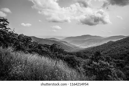 black and white shenandoah mountains
