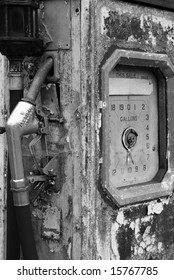 Black and white shot of an abandoned fuel pump