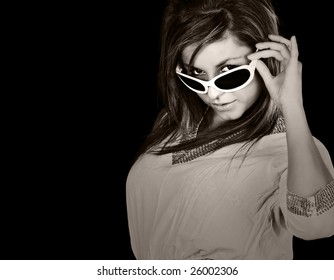 Black and White Shot of an Attractive Girl in White Sunglasses