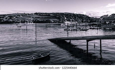 Black and White shot of Boats Moored in Salcombe Harbour, Devon