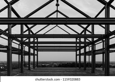 Black and white shot of industrial steel frame construct