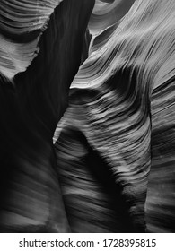 Black and White Shot of Mesmerizing Rock Formations in the Lower Antelope Slot Canyon near Page, Arizona, USA, North America