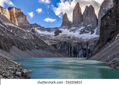 black and white shot of the Towers in the Torres del Paine National Park, Patagonia, Chile