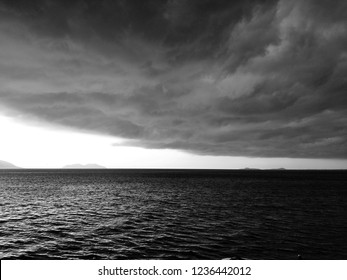 Black and white shot of Vlora bay before the storm, Vlore, Albania