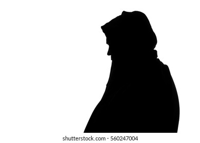 black and white silhouette of a big fat man in a sports jacket with a hood