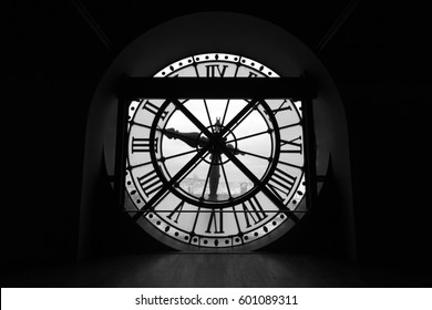 Black and white silhouette of the clock with roman numerals in the Musee d'Orsay (d'Orsay Museum), Paris, France, December 2013