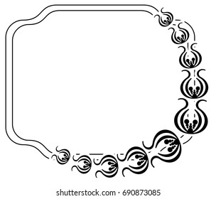 Black and white silhouette frame with decorative flowers. Raster clip art.