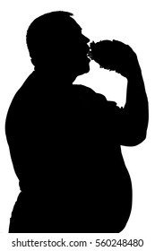 black and white silhouette of a man who eats unhealthy food, hamburger and not dieting