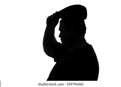 black and white silhouette of plump man wear a hat with a visor