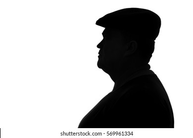 black and white silhouette of a plump man in a cap with a visor looking in profile