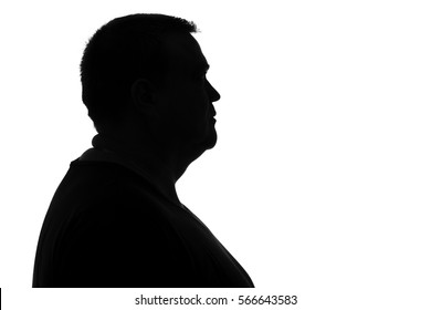 black and white silhouette portrait of head of a sad man in depression faced with problems