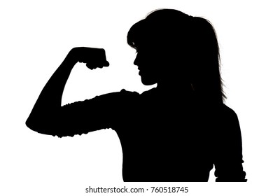 black and white silhouette of sport woman on white isolated background, concept power of thought, idea