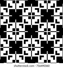 Black and white simple pattern with geometric ornament