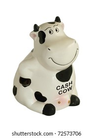 Black and white sitting cow piggy bank isolated on white.