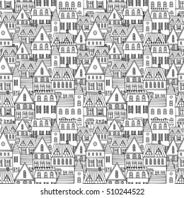 Black and white sketch seamless panorama of the city. Doodle. Sketch of city architecture.