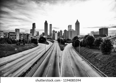 black and white skyline of Atlanta, Georgia, USA