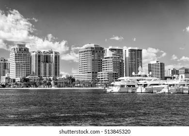 Black and white skyline of West Palm Beach, Florida.