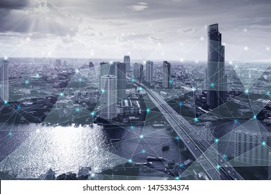 Black and white smart city with network connections aerial view, communication technology concept