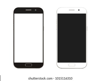 black and white smart phone with blank screen isolated on white background