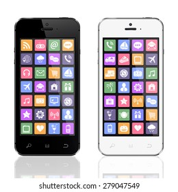 Black and white smartphones with app icons