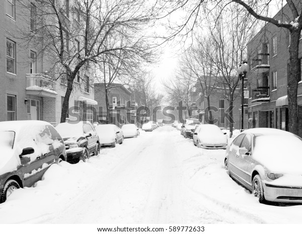 Black and white snow storm in Montreal, Canada