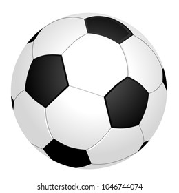 Black and white soccer ball or football, graphic, white background