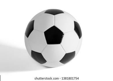 Black and white soccer ball on white background