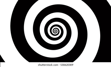 Black and white spiral Optical illusion illustration, abstract background graphics asset, Hypnotising whirlpool effect