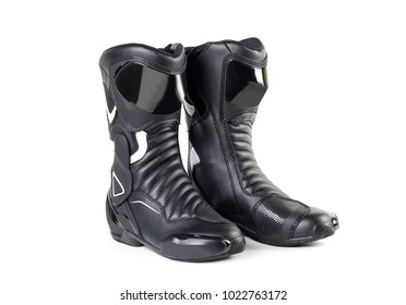 Black and white sports motorcycle boots. Isolated on a white background.