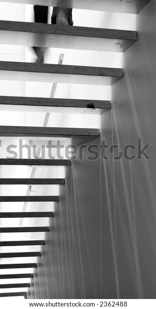 Black and White Stairs, with Someone descending