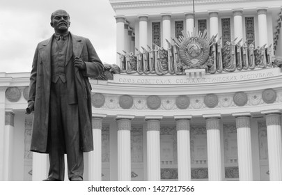 Black and white statue view of V. Lenin, soviet dictator and communist leader at VDNH in Moscow on June 2019