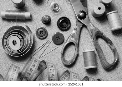 """Black and White """"Still Life"""" of Sewing Supplies. Manually mixed with Red, Green and Blue channels and grayscale component of the image"""