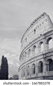 Black and white Stock Photo Coliseum. Vertical orientation.
