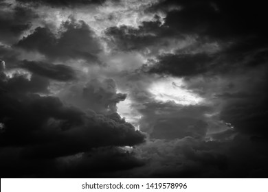 Black and white storm cloudy sky