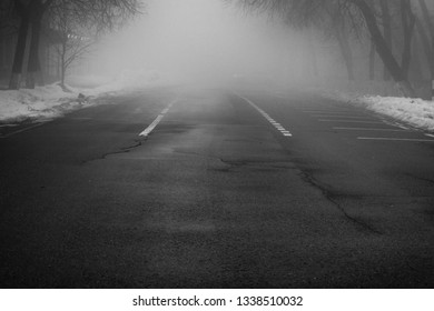 Black and white street at night with heavy fog. White lines on road