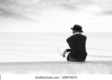 Black and white street photography of man