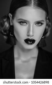 Black and white studio portrait