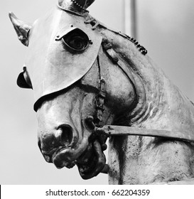 Black and white study close up of Joan of Arc war horse statue abstract power New Orleans