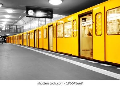 black and white subway station Hermannplatz in Berlin Neukoelln, germany