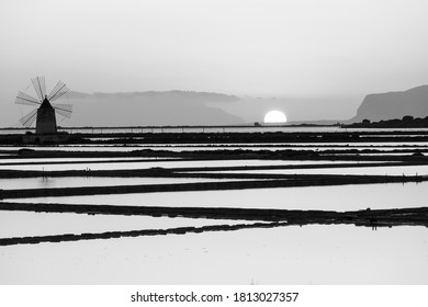 Black and White sunset in Sicily, Italy