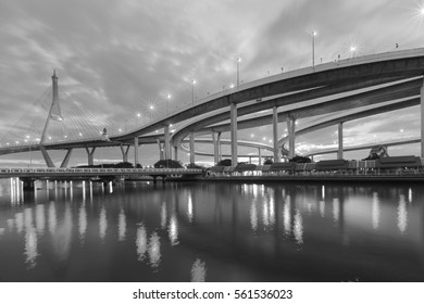 Black and White, Suspension over watergate connect to highway interchanged, Bangkok Thailand
