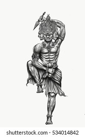 Black and white tattoo god titan of japan .Tattoo art and design paint on back.Hand drawn god of titan with sword.