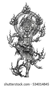 Black and white tattoo god titan of japan .Tattoo art and design paint on back.Hand drawn god of titan with fire around.