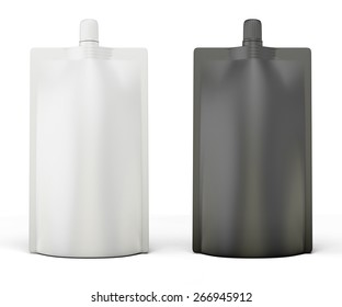 Black and white template package Doypack for your design. Bag packaging with lid. 3d illustration.